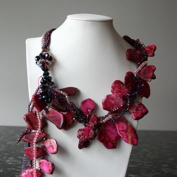 Vibes Handcrafted Pink Fuschia Howlite Gemstone Necklace