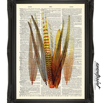 Tribal Burnt Feathers Native Folk Art Original Print on an Unframed Upcycled Bookpage