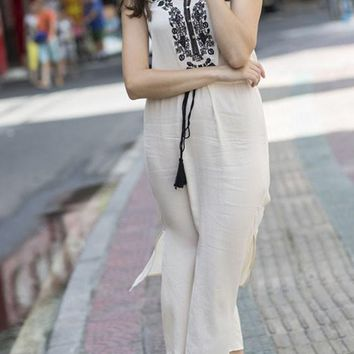 White Embroidery Drawstring Irregular Round Neck Sleeveless Maxi Dress
