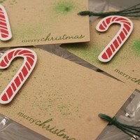 Candy Cane and Shimmer Green Merry Christmas Gift Tag Set of Three
