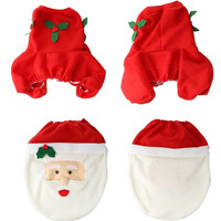3Pcs/set Happy New Year Christmas Decoration For Home Santa Toilet Seat Cover & Rug Bathroom Se Santa Claus Christmas Ornament
