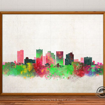 Phoenix Skyline Poster Watercolor, Arizona Print, Cityscape, City Painting, Illustration Art Paint, Giclee Wall, Home Decor