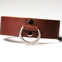 Leather Bondage Collar - Chestnut Brown Latigo - Steel Lead Ring -  Ivy Motif