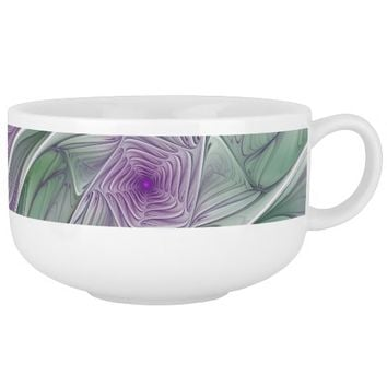 Flower Dream, Abstract Purple Green Fractal Art Soup Mug