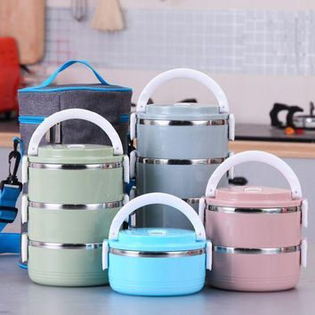 MDIGON1O Portable Cute Mini Lunch Bento Box Thermal Insulation Leak-Proof Stainless Steel Dinnerware Sets Day First