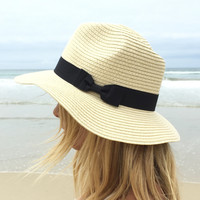 Bow Lined Fedora Hat
