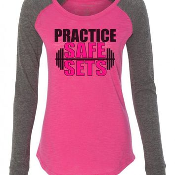 "Womens ""Practice Safe Sets"" Long Sleeve Elbow Patch Contrast Shirt"