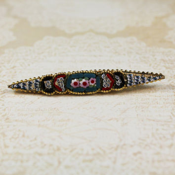 Vintage Italian Micro Mosaic Red and Green Gold Bar Brooch