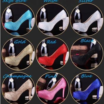 Crystal Wedding Shoes Rhinestone Bridal Party Stilettos Heels Pumps