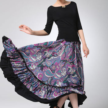 Maxi skirt cotton women long skirt (1241)