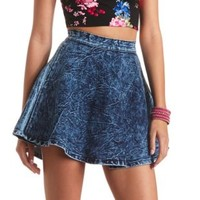 Acid Wash Denim Skater Skirt by Charlotte Russe - Dark Acid Denim