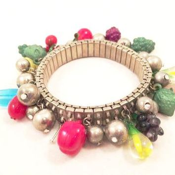 Fruit Salad Vintage Jewelry Silver Accordion Bangle Bracelet Plastic Beads
