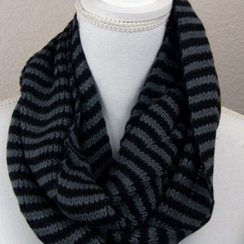 Unisex Knit Infinity Scarf - Charcoal Gray and Black Stripes