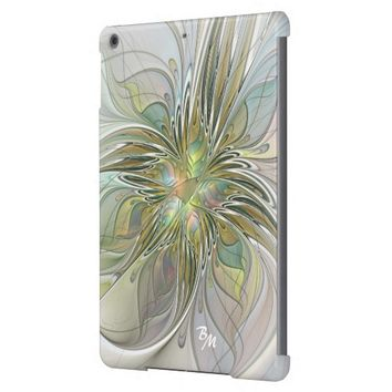Floral Fantasy, Abstract Fractal Art Monogram Case For iPad Air