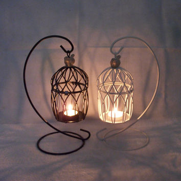 Big Size Cage Iron Candle Stand Creative White Home Decor [6282396998]