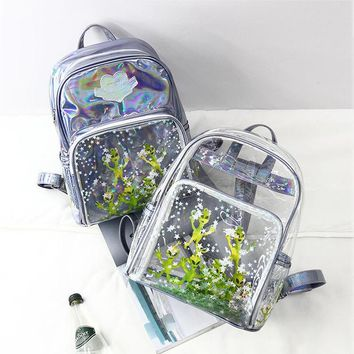 Laser backpack students in 2017 new ultra-perspective Harajuku alien transparent sequins star shoulder bag z954
