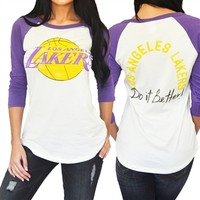 Los Angeles Lakers Womens Raglan | SportyThreads.com