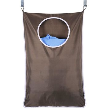 Waterproof Laundry Bag Extra Large Wall Mounted Laundry Organizer Bag with Stainless Steel and Suction Cup Hook