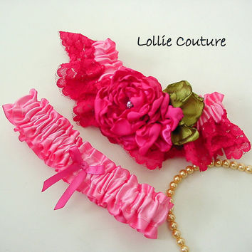 Hot Pink lace Wedding, beautiful one of a kind couture, wedding garter set
