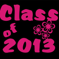 T-shirts for 2013 Graduates.  Class of 2013 accented with 3 flowers.  Seniors, High School Grads, College Grads
