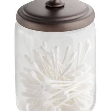 InterDesign InterDesign York Bathroom Vanity Glass Apothecary Jar for Cotton Balls, Swabs, Cosmetic Pads - Clear/Bronze from Amazon | BHG.com Shop