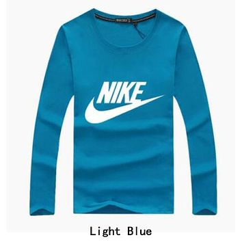 NIKE Spring Autumn Popular Women Men Casual Long Sleeve Round Collar Sweater Top Sweatshirt Light Blue