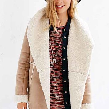 Ecote Drapey Sherpa Jacket- Neutral Multi