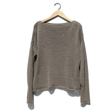 Vintage Taupe Tan knit Cotton Top / Summer Pullover Sweater / Oversized Sweater