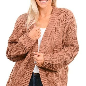 Ginger Cable Knit Cardigan Sweater