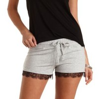 Lace-Trim French Terry Shorts by Charlotte Russe - Gray Combo