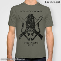 "Halo ""Spartans Never Die"" Jersey T-Shirt Tee Shirt For Him Olive Drab OD Green Dark Bullet Hole Video Game Gamer Geek Nerdy Geekery Badass"