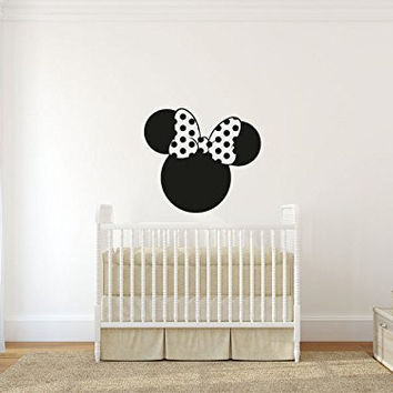 Minnie Mouse Inspired Head Silhouette and Bow Vinyl Wall Words Decal Sticker Graphic
