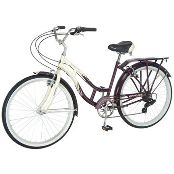 7-Speed Women's Beach Cruiser Bike in Purple Cream with Pull Brakes