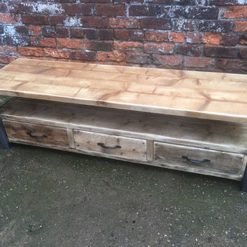 Industrial Chic Reclaimed wood Tv Stand media unit with 3 drawers. Steel and Wood Metal Hand Made in Sheffield 098