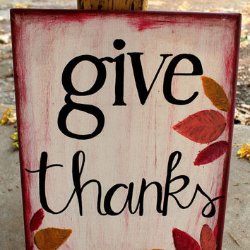 Give Thanks // Thanksgiving painting with leaves // 11x14 canvas // maroon, orange, yellow, black