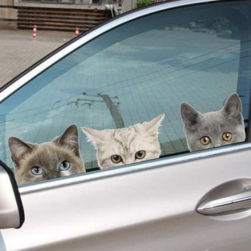 Funny 3D Cats And Dog Peeking Car Sticker And Wall Art Decals - 5 Stickers