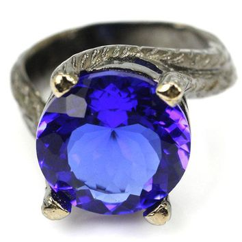 9# Vintage Style Deep Blue Sapphis Ladies Wedding Black Gold Silver Ring 23x17mm