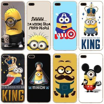 H430 Cute Minions Transparent Hard Thin Case Cover For Apple iPhone XR XS Max 4 4S 5 5S SE 5C 6 6S 7 8 X Plus