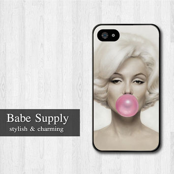 Marilyn Bubble Gum iPhone 4 case, Marilyn Monroe iPhone 4 4s 4g hard case, cover skin case for iphone 4/4s/4g (Hard / Rubber case)