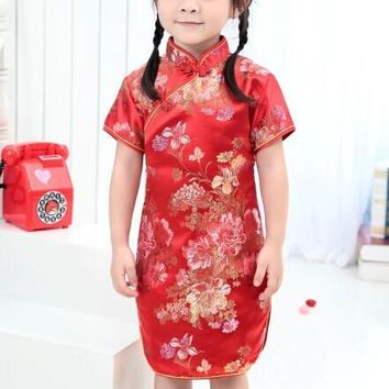 Red, Black, Pink, Gold, Light Blue Floral Silk Kids Cheongsam One-piece Chinese Qipao Dress