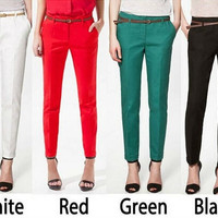 2014 Ladies' Fashion OL Women Candy Color Leisure Slim Tall Waist Foot Trousers Casual pants Pencil Pants LMX136 = 1958811268