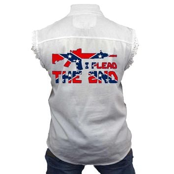 Men's Confederate Rebel Flag Sleeveless Denim Shirt I Plead The 2nd Biker Vest