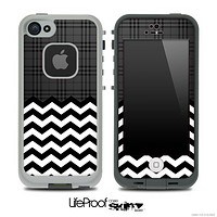 Mixed Black Plaid and Chevron Pattern Skin for the iPhone 5 or 4/4s LifeProof Case