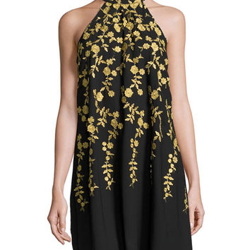 5Twelve Social Floral-Embroidered Swing Dress, Black/Gold