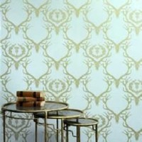 Barneby Gates Deer Damask Wallpaper - Duck Egg Blue Antique Gold