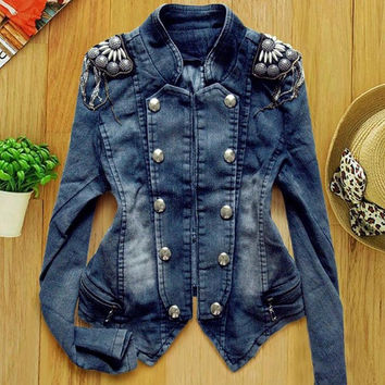 New Women's Denim Jean Trench Casual Coat Hoodie Jacket Hooded Jeans Outerwear  SV005836 (Size: XXS, Color: Blue) = 1902775620