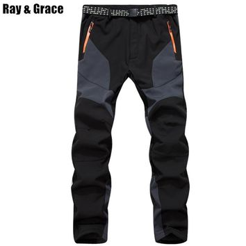 RAY GRACE Winter Men Hiking Pants Outdoor Softshell Fleece Trousers Waterproof Windproof Thermal for Fishing Camping Climbing
