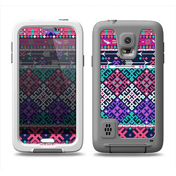 The Pink & Teal Modern Colored Aztec Pattern Samsung Galaxy S5 LifeProof Fre Case Skin Set
