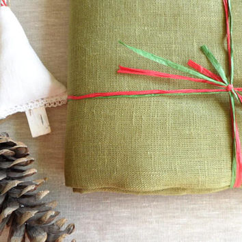 Jute Burlap Tablecloth. Long linen tablecloth. Green table cloth 54x120 inch. Rustic Burlap Tablecloth