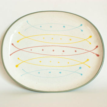 Atomic Harkerware Stoneware China Seafare Serving Platter Yellow Blue and Pink